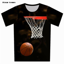 PLstar Cosmos 2017 Summer Clothing 3D T-shirt Woman/Men's Short Sleeve Funny Basket ball T Shirt Plus Size Tee Tops(China)