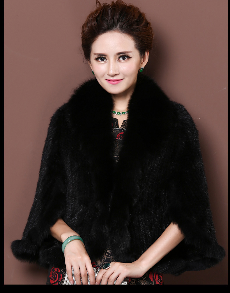 Winter Shawl Wrap Poncho Real Knit Mink Fur shawl With Fox Trimming Real fur Jacket coats party 2017 new (33)