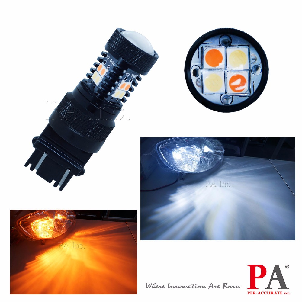 PA LED 2pcs x 16SMD 3157 3057 T25 4157 Switchback Dual Color 3030 SMD LED White Yellow Turn Signal Light<br>