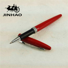 1pc/lot JINHAO 885 Roller Ball Pen Red Pens Silver Clip Rhinestones Accessories Material Escolar Canetas Kawaii 13.6*1.2cm(China)