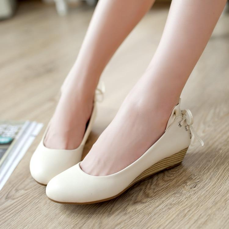 2017 Spring Summer Leisure Low Heel Platform Shoes Women Sweet Bowtie OL Causal Solid Shoes Girls Women Flower Plarform Sandals <br><br>Aliexpress