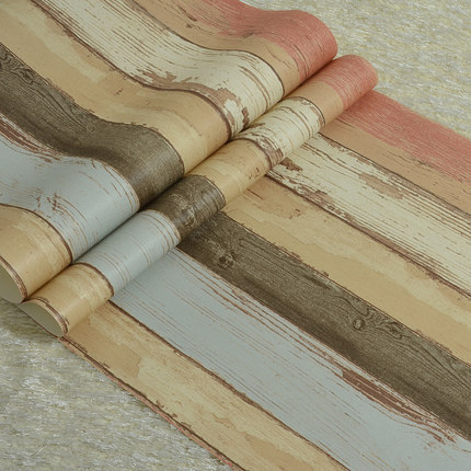 nostalgic american wood grain wallpaper retro finishing vintage living room wall paper tv background colours stripe wallpaper<br>
