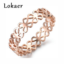 Lokaer Romantic Rose Gold Color Valentine 's Lucky Clover Flower Hollow Ring Chic Stainless Steel Rings Jewelry For Young Lady