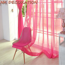 NK DECORATION Hot Sale 2PCS Rose Red Design Curtain Tulle For Living Room Bedroom Kitchen Window Screening Chiffon Voile Curtain(China)