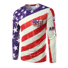 The United States flag new men's fashion fringe pattern printing three-dimensional high street - long sleeved T-shirt(China)