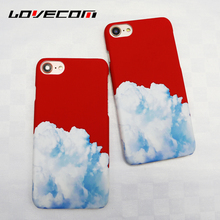 LOVECOM China Red White Clouds Frosted Matte PC Hard Phone Case For iPhone 6 6S Plus 7 7 Plus Coque Back Cover Shell Capa