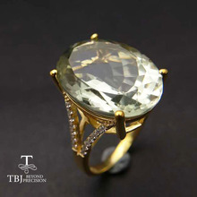 TBJ,Big natural 11ct green amethyst Ring  in  925 yellow gold color sterling silver gemstone jewelry for girls with gift box