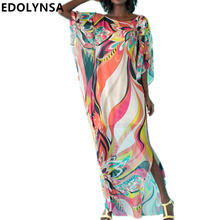 Beach Dress Kaftan Pareo Sarongs Sexy Cover-Up Chiffon Bikini Swimwear Tunic Swimsuit Bathing Suit Cover Ups Robe De Plage #Q97(China)