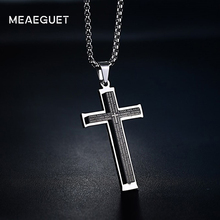 Meaeguet Simple Men's Stainless Steel Cruz Pendants Double Layer Bible Prayer Black Color Cross Pendant Necklace Jewelry(China)