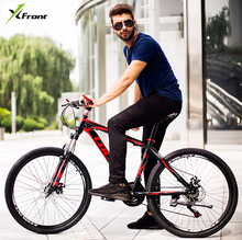 New X-Front brand 21/24/27 speed carbon steel 26 inch frame mountain bike outdoor downhill bicicleta disc brake MTB bicycle