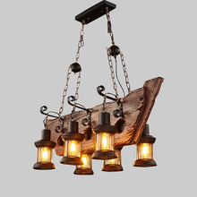 Designer's Lamp Brand Retro Industrial Pendant Lamp 6 head Old Wood Light American Country style Edison Bulb Hanging lamp(China)