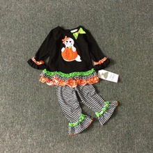 2-6X Wholesale Free shipping Original rare editions girls Halloween Thanksgiving Genius pumpkin  t shirt + leggings outfits suit