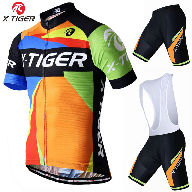 X-Tiger Short Sleeve Cycling set Summer Mountain Bike Clothing Pro Bicycle Jersey Man Sportswear Suit Maillot Ropa Ciclismo 2017<br>