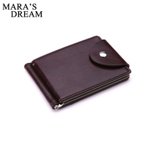Mara's Dream Brand Mini Men's leather Money Clip wallet Pocket Purse with clamp Man Slim Credit Card Bag ID Holder for male
