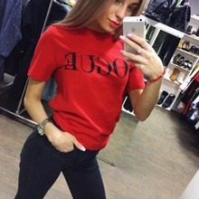 FKZ 2017 Harajuku Fashion T Shirt Tops VOGUE Letter Printed O-neck Female T-shirt Summer For Women Red Black white Tshirt Tee