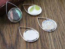 20pcs 12mm Inner Size Silver Plated Brass Material Simple Style Cabochon Base Cameo Setting Charms Pendant Tray (A1-36)(China)