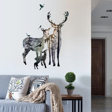 Vintage Forest Deer Flying Birds Wall stickers For Living Room Restaurant Office Decor Wall Decals Art Mural Poster(China)