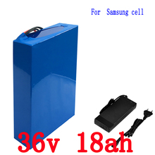 Free customs fee 1000W 36V 18AH li-ion battery pack 36V 18AH electric bike battery use Samsung 3000mah cell with 42V 2A Charge(China)