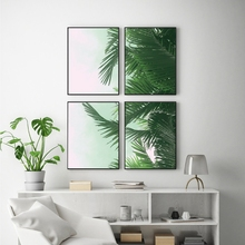 Tropical Palm Leaf Canvas Painting Prints For Living Room Nature , Extra Large Botanical Art Green Leaves Print Wall Art Decor(China)