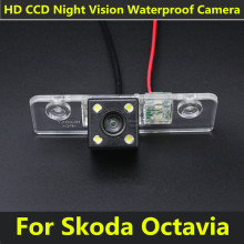 Car CCD 4 LED Night Vision Reverse Backup Parking Waterproof Rearview Reversing Rear View Camera For Skoda Octavia 2008-2013