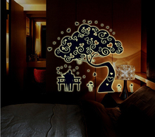 Large vinyl Romantic Abstract tree wall sticker wall stickers glow in the dark family tree wall decal home decor(China)