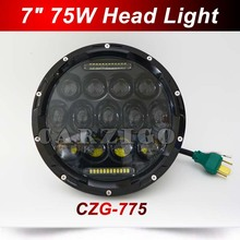"CZG-775 Hi/low Beam 75w 7 Inch Round Led Headlight 7"" 75w Round LED head lamp light with white DRL for Harley for Jeep Wrangler"