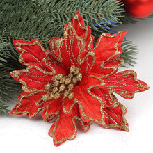 New Arrival 10pcs/lot 15cm Red Glitter Artificial Christmas Flowers Poinsettia Cheap Christmas Ornaments