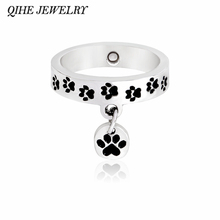 QIHE JEWELRY Paw print ring Pet memorial ring Stacking wrap rings Puppy kitty paw print jewelry Dog cat lover gifts(China)