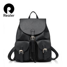 Realer 2016 women new vintage casual new style pu leather school bags ofertas famous designer brand backpack for girls
