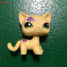 5cm LPS Pet Shop Purple Flower Yellow Short Hair Kitty Figure(China)