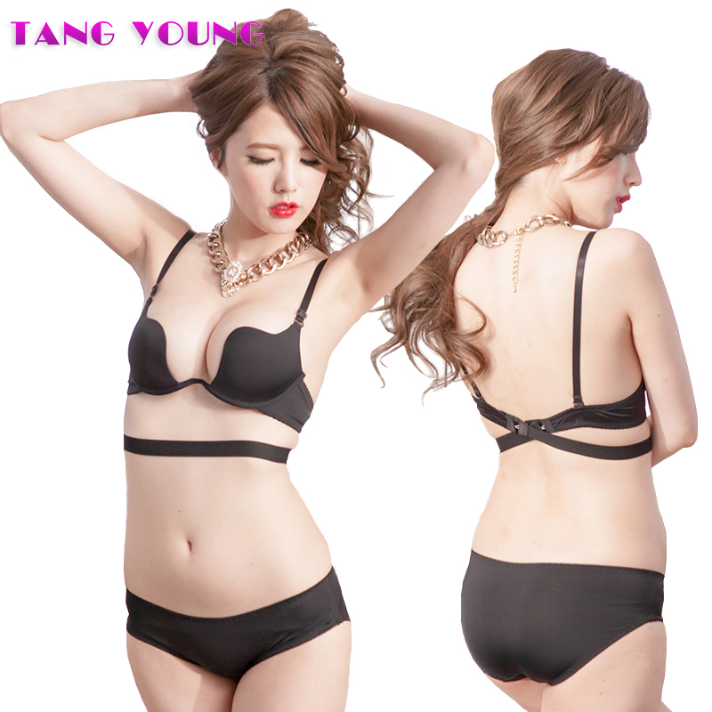 TANG YOUNG Hot Sexy Cross Halter-Neck Women 1/2 cup Deep U Bra One-Piece Seamless Solid Underwear Invisible Bra brief sets