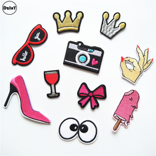 10 PCS/LOT Crown Parches Embroidery Iron on Patches for Clothing DIY Stripes Clothes Camera Stickers Eyes Glasses Appliques @N0(China)