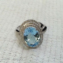 6.50CT SOLID 14K WHITE GOLD NATURAL BLUE AQUAMARINE . ENGAGEMENT RING