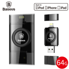 Baseus MFI 64GB USB Flash Drive For iPhone 7 6 6s Plus 5 5s se iPad Pen Drive For Lightning U Disk HD Memory Stick OTG Pendrive(China)