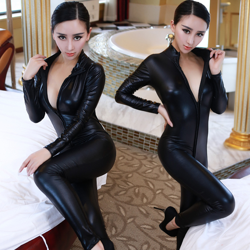 Hot Sexy Catwomen Faux Leather Latex Zentai Catsuit Smooth Wetlook Jumpsuit Front Zipper Elastic Black PU Full Bodysuit Playsuit(China (Mainland))