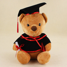 32cm lovely doctor bear with black cap plush stuffed Animal toys for kids Graduation gift