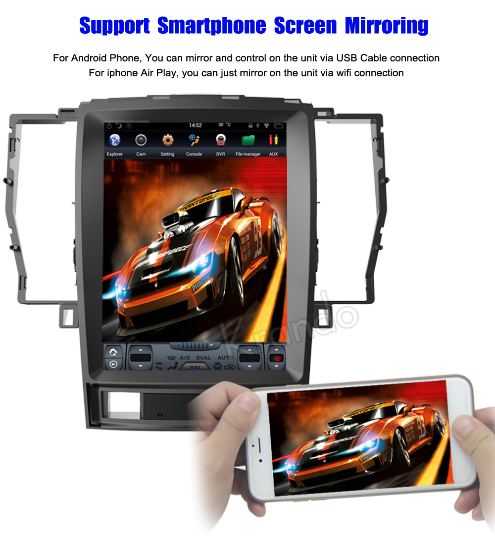 Krando Vertical screen android car radio multimedia for Toyota crown 2008-2012 Big screen navigation with gps system (5)