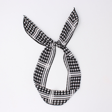 News Bunny Rabbit Ears Cotton Wrap Bow Bowknot Classic Black White Pattern Hair Band Headband Wire Bendy Headdress Accessories(China)