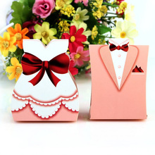 2016 New 50Pcs Fashion Pink Bride Groom Tuxedo Dress Gown Shape Wedding Favors Candy Gift Box(China)