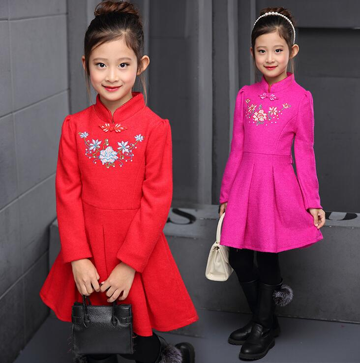 Chinese Style Girls Dress With Plate Buckle Holiday Dresses For Girls Floral Prinsessenjurken Meisjes Party Baby Girl Clothes<br><br>Aliexpress