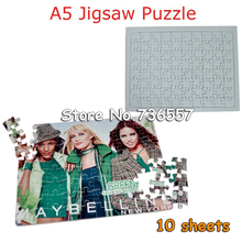 Free Shipping Sublimation Jigsaw puzzle,Sublimation Blank,Transfer,Puzzle,Sublimation A5 Puzzle 10 sheets(China)