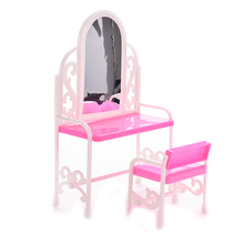 1 Set Fancy Classical Dresser Table Chair Kids Girls Play House Bedroom Toy Girls Accessories For Barbie Doll Furniture