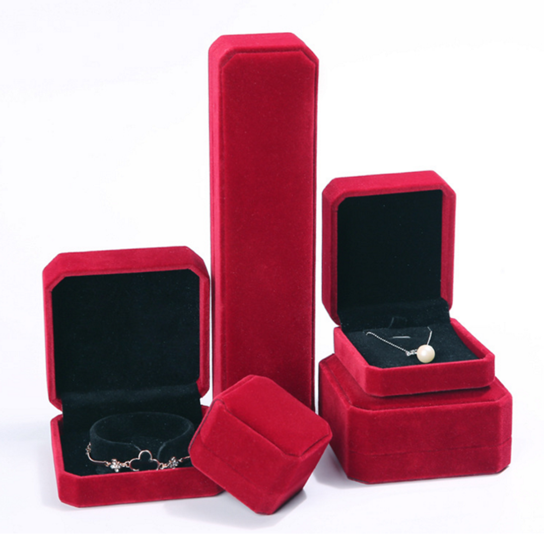 Red Velvet Wedding Earring Ring Necklace Bracelet Storage Box Gift Vintage Packing Box For Jewelry Display Storage Foldable Case