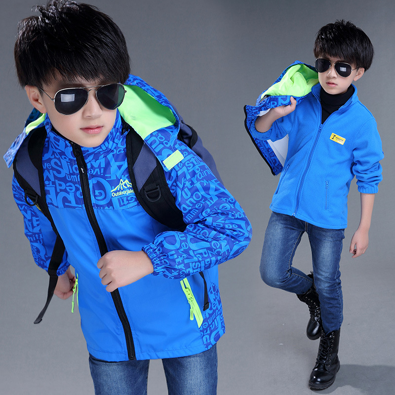 2017 Active Zipper Cotton Full Turn-down Collar Regular New Children Childrens Boys Autumn Letter Three In One Removable Coat <br>
