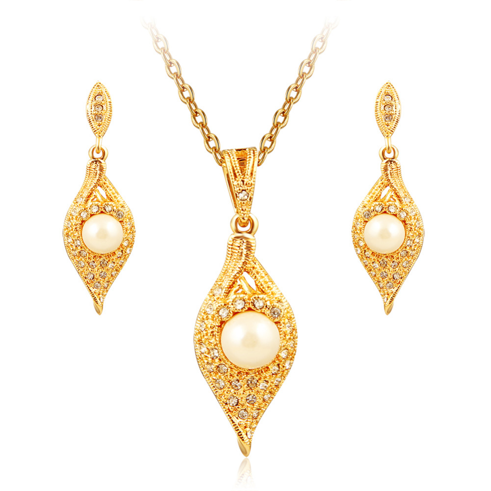 Aruel Fashion Dubai Simulatedpearl Jewelry Sets Trendy Women Wedding Party  Gold Color Leaf Necklace