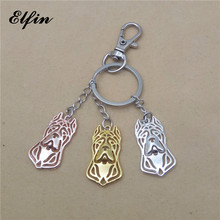 Elfin 2017 Wholesale Trendy Cane Corso Key Chains Gold Color Silver Color Animal Jewellery Fashion Dog Key Rings For Women Men(China)