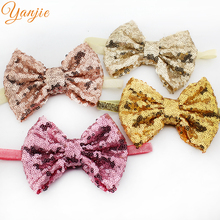 "12pcs/lot 5"" Sequins Bow Glitter Knot Hairbow 3/8'' Glitter Elastic Ribbon Stretch Headbands For Girls Headband Headwear(China)"