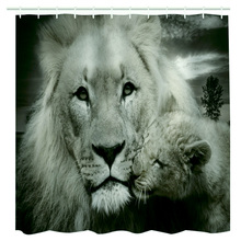 Shower Curtain 3D Printed Two Tigers Waterproof Polyester Bath Curtain Animal Motifs Bathroom Door Curtain With Hang Hooks(China)