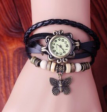 Hot Sale High Quality Women Genuine Cow Leather Vintage Watches Bracelet Wristwatches Butterfly Pendant KOW045