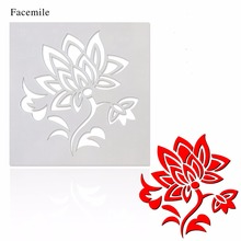 Facemile Embossing Paper Card Plastic Cake Stencil Lotus Flower Template For Walls Painting Scrapbooking Stamp Cake Decor Tool